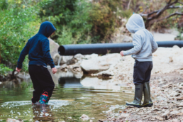two brothers play in creek