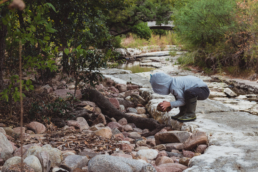 young boy picks up rock near creek