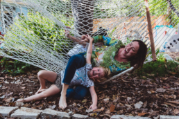 mom and daughter fall off hammock